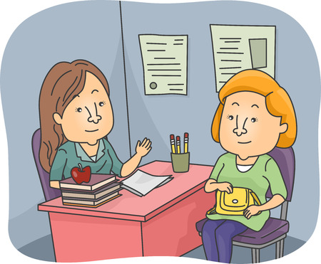 principal: Illustration of a Parent and a Teacher Having a Talk at the Teachers Office Stock Photo