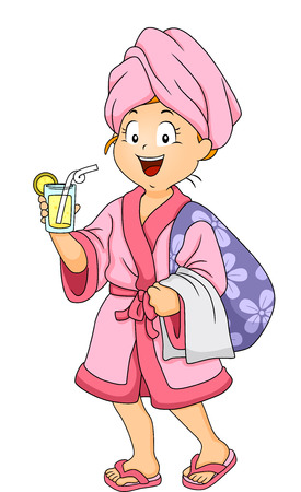 Illustration of a Girl Clad in Robe Drinking a Glass of Juice at the Spa