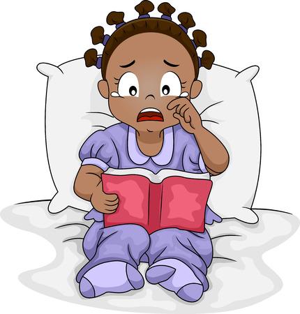 Ilustración de una chica Negro Poco Crying Over the Ella libro es una lectura Foto de archivo - 28157526