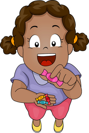 sweettooth: Illustration of a Little Black Girl Giving Candies Away