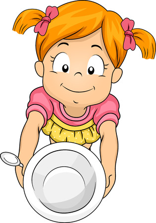 second meal: Illustration of a Little Girl Handing Over an Empty Bowl Asking for Seconds