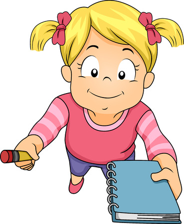 inviting: Illustration of a Little Girl Holding a Pencil and Notebook and Asking Someone to Write Something for Her