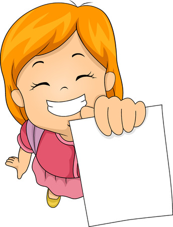 happily: Illustration of a Little Girl Happily Showing Her Test Paper