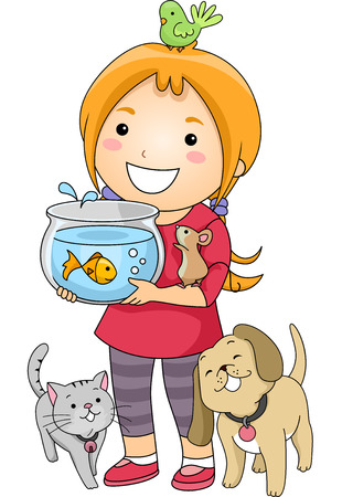 cat fish: Illustration of a Little Girl Surrounded by Different Types of Pets