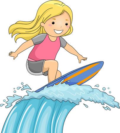 巨大な波に乗っているサーフボードの女の子のイラスト 写真素材 - 28157537