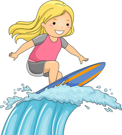 surfer: Illustration of a Little Girl on a Surfboard Riding a Huge Wave Stock Photo