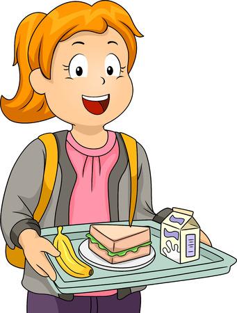 comedor escolar: Ilustración de una niña poco en una cafetería que lleva una bandeja que sostiene sus Almuerzo Foto de archivo