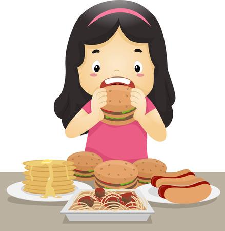 Illustration of a Little Girl Going on an Eating Binge