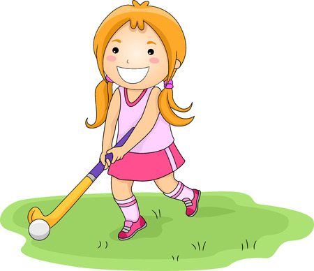 field hockey: Illustration of a Little Girl Playing Field Hockey