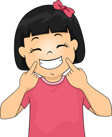 grin: Illustration of a Little Girl Gesturing a Smile