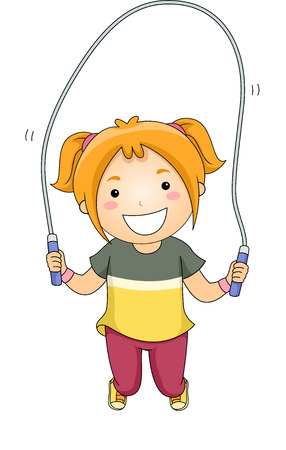 Illustration of a Little Girl Jumping Rope illustration