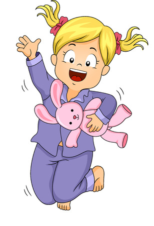 Illustration of a Little Girl in Pajamas Jumping Happily Stok Fotoğraf