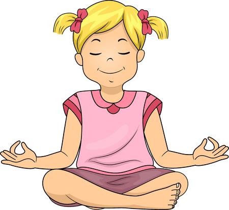 Illustration of a Little Girl Meditating While Sitting Cross Legged