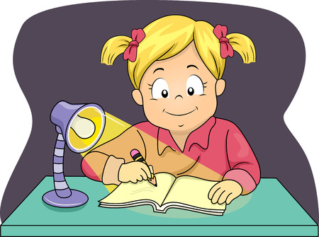 night school: Illustration of a Little Girl Using a Lamp to Study at Night