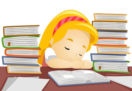student with books: Illustration of a Little Girl Falling Asleep While in the Middle of Studying Stock Photo