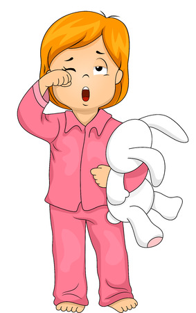 woken: Illustration of a Little Girl in Pajamas Who Has Just Woken Up Stock Photo