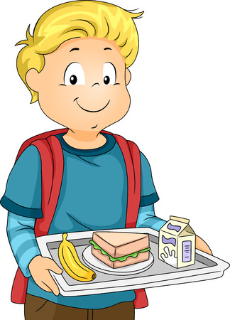 Illustration of a Little Boy in a Cafeteria Carrying a Tray Holding His Lunch illustration