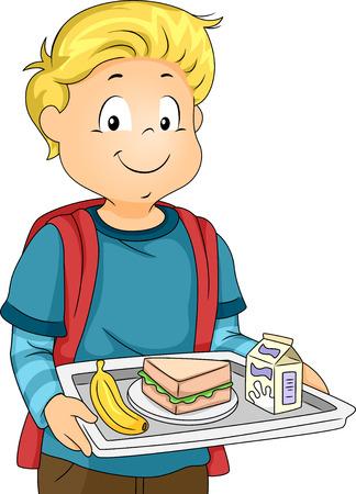 comedor escolar: Ilustración de un niño pequeño en una cafetería que lleva una bandeja que sostiene su almuerzo Foto de archivo