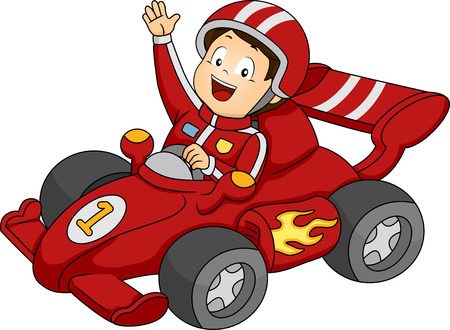 Illustration of a Little Boy Happily Waving from His Race Car Stock Photo