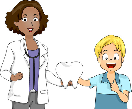 Illustration of a Dentist Presenting a Large Tooth to a Boy illustration