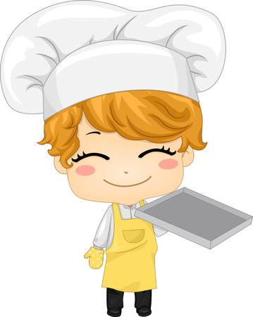 Illustration of a Smiling Boy Carrying an Empty Baking Tray illustration
