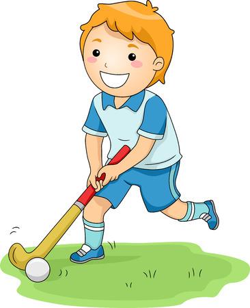 hockey sobre cesped: Ilustración de un niño pequeño que juegan feliz de hockey hierba