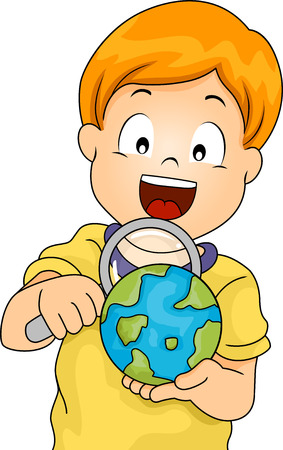 examine: Illustration of a Little Boy Using a Magnifying Glass to Examine a Globe Stock Photo