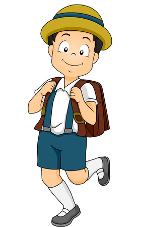 uniform attire: Illustration of a Male Japanese Student Wearing a Common Grade School Uniform