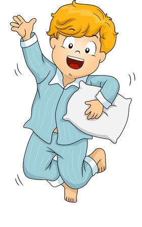 행복하게 잠옷 점프를 입고 소년의 그림