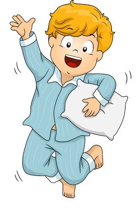 Illustration of a Boy Wearing Pajamas Jumping Happily
