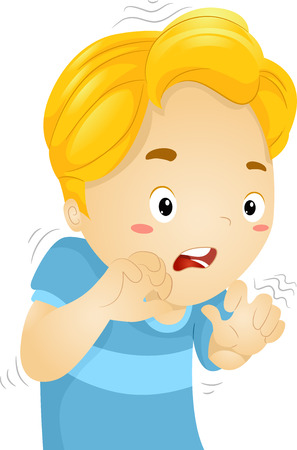 shaken: Illustration of a Little Boy Quivering in Fear