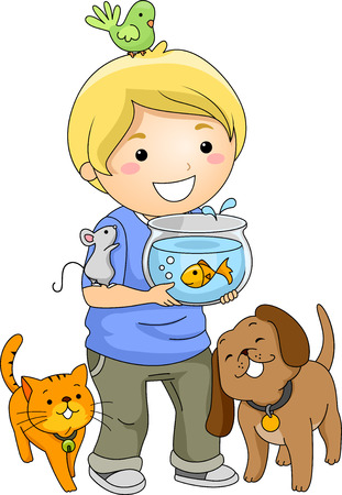 Illustration of a Little Boy Surrounded by Different Pets Stock Photo