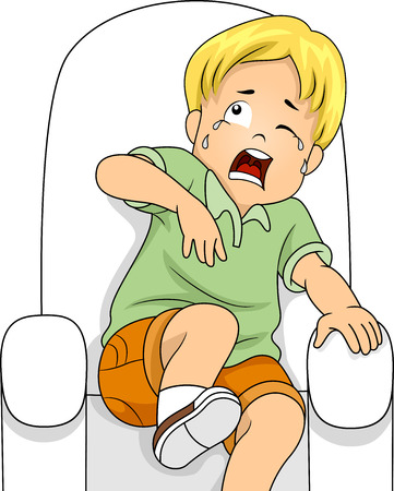 shaken: Illustration of a Little Boy Sitting on a Chair Crying from Fear Stock Photo