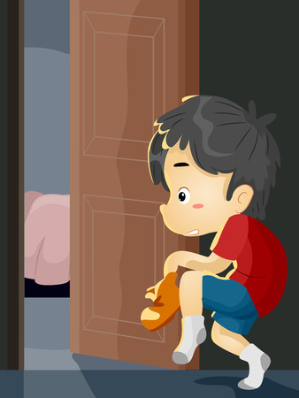 silently: Illustration of a Little Boy on Tiptoes Trying to Sneak Out of the House Stock Photo