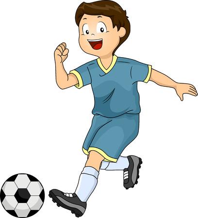 kicking ball: Illustration of a Little Boy Kicking a Soccer Ball Stock Photo