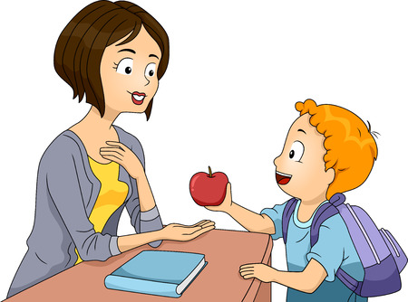 Illustration of a Little Boy Handing an Apple to His Teacher illustration