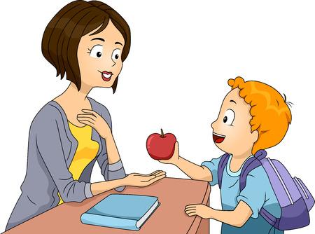 Illustration of a Little Boy Handing an Apple to His Teacher