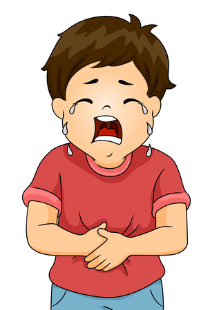 crying child: Illustration of a Boy Crying in Pain While Clutching His Stomach