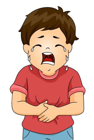 dolor de estomago: Ilustraci�n de un ni�o llorando de dolor mientras agarr�ndose el est�mago Foto de archivo