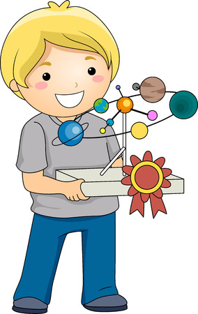 arts system: Illustration of a Boy Carrying a School Project with a Ribbon Attached to it