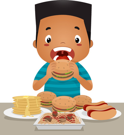 overeating: Illustration of a Little Boy Going on an Eating Binge Stock Photo