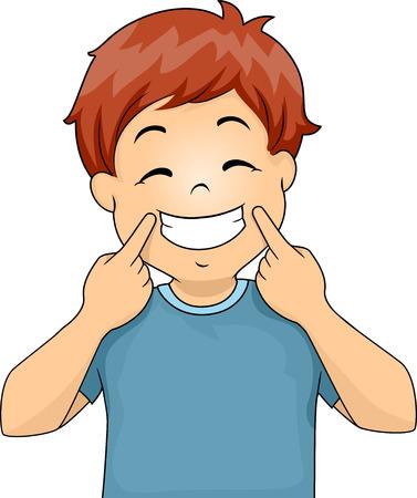 grin: Illustration of a Little Boy Gesturing a Smile