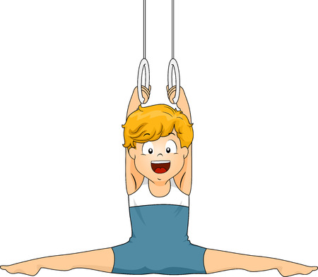Illustration of a Little Boy Doing a Split While Holding on to Still Rings illustration