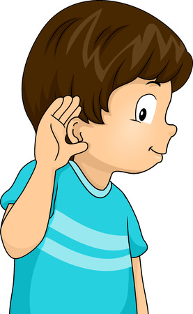 pressed: Illustration of a Little Boy with His Hand Pressed Against His Ear in a Listening Gesture