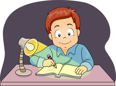 schooler: Illustration of a Little Boy Using a Lamp to Study at Night
