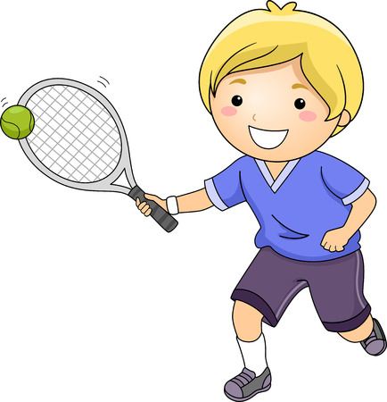 Illustration of a Little Boy Hitting a Tennis Ball with a Racket illustration