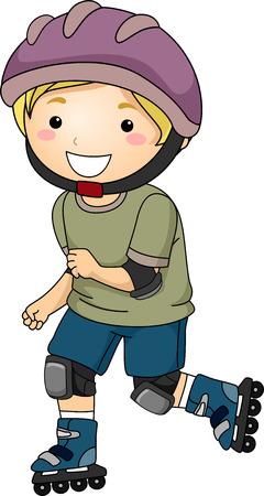rollerblading: Ilustración de un niño pequeño que desgasta Equipo de Protección Mientras Rollerblading