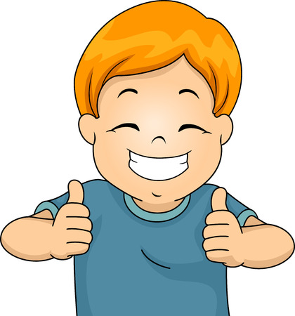 two thumbs up: Illustration of a Little Boy Giving Two Thumbs Up
