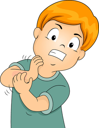 Illustration of a Little Kid Furiously Scratching His Itchy Arm illustration