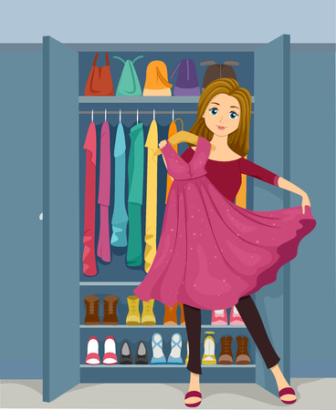 pink dress: Illustration of a Girl Standing in Front of a Closet Holding a Pink Glittery Dress